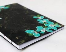 Aqua Floral Frame Hand Bound Book - Journal, Dairy, Bound Book, Sketchbook, Polaroid Photo Album, Photo Album, Abstract Floral , Blue Floral