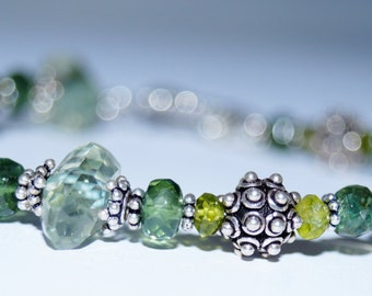 Green Amethyst, Green Apatite, Peridot and Sterling Silver Beaded Bracelet