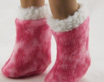 """18"""" Doll American Girl Pink Tie-Dye Boots with White Fuzzy Trim"""