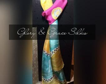Elegant Scarf. Hand Painted Silk Scarf. Bright colors.  Tribal.  Summer trend. GloryandGraceSilks.  Approx 8x70 inches.