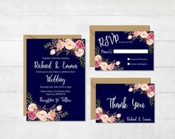 Navy Floral Printable Wedding Invitation Suite, Boho Wedding Invite, Floral Wedding Invite, Peonies Bohemian Wedding Invite, Download, 110-N