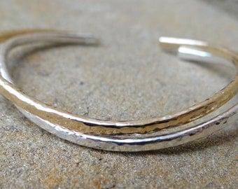 Gold Cuff Bracelet, Hammered Cuff, Stacking Cuffs, Minimalist Cuff, Modern Gold Bracelet, Thin Gold Cuff, Loveleigh Locket
