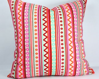 Geometric jaquard decorative cushion geometric pillow covers 18x18 red orange pink outdoor pillow multi color throw pillows summer pillows