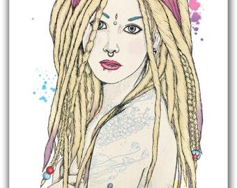 Tattoos and Dreadlocks Alternative Girl A6 Postcard Illustration Print