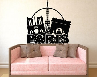 Eiffel Tower Wall Decal Paris Silhouette Vinyl Stickers Decals Art Home Decor Mural Vinyl Lettering Wall Decal France Bedroom Dorm x249