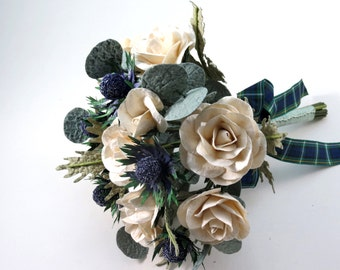 Sea Holly Bouquet with Cream Ivory Roses Bridal Tartan Paper Bouquet