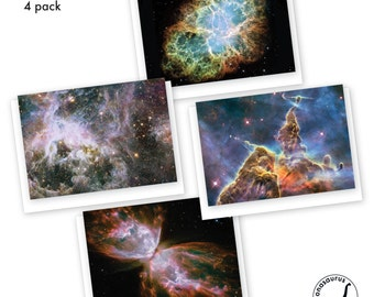 Nebula Greeting Cards, 4 Pack, Blank Cards, Space Cards, Nebulae, Astronomy Cards, Birthday Card, PenPals, Thankyou Card,