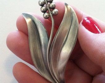 Vintage Danish Silver Flower Brooch