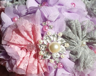 Bridal bouquet with fabric flowers