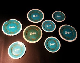 Vintage Barbie Teal Blue Tea Set, Vintage Barbie Blue coasters, Vintage Barbie Tin 1959 - 1975, Vintage Barbie Pictures, Barbie Play Toy Set