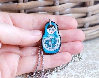 Matryoshka Pendant Blue Matryoshka Necklace Matryoshka Doll Pendant Russian Doll Necklace Matryoshka Jewelry Blue Violet Babushka Pendant