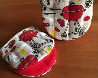 "Diner oven/backing gloves/oven-mitts/BBQ gloves/pottholders linen ""Grill"" (5"" x 5""), gift"