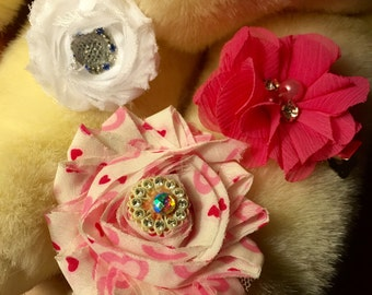 Baby Trio of Satin and Silk Flowers on Hair Clip for Baby