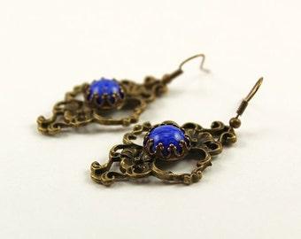 Earrings Drop Earrings Brass Jewelry Filigree Brass Czech Glass Lapis Woman Jewelry