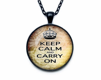 Keep Calm and Carry On Pendant with Photo Glass Cabochon Black(YTJ4-J33)