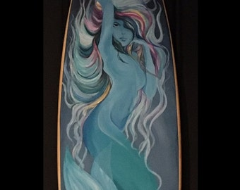 Hand Painted Mermaid Surfboard