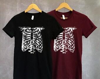 Skeleton Shirt - Halloween Shirt - Skeleton Costume - Skull Shirt - Skeleton TShirt - Halloween TShirt - X-Ray - Rib Cage