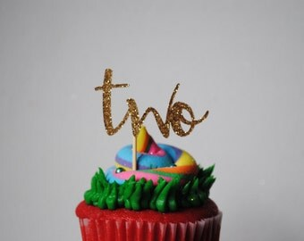 """12 """"Two"""" Cupcake Toppers 