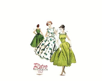 2000 Vintage Sewing Pattern - Butterick 4513 - Retro Dress Full Skirt