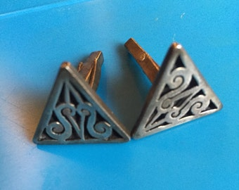 Vintage Art Deco Triangle Cufflinks - Authentic signed by artisan C Molina Design - Vintage 925 Mexican Silver