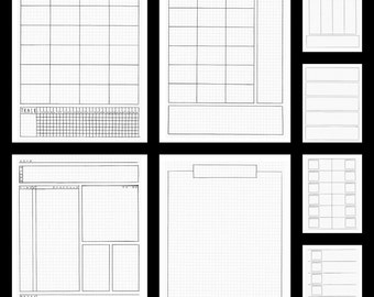 Bullet Journal Planner Inserts- Letter Size Printable Handdrawn Templates