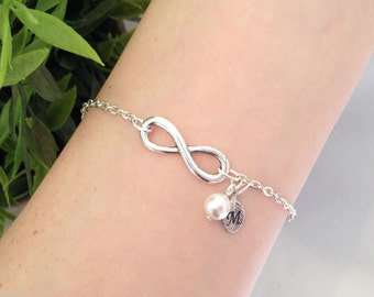 Infinity Bracelet, Personalised Jewelry, Letter Bracelet, Bridesmaid Jewelry, Initial Jewelry, White Swarovski Pearl, Silver Plated Charm