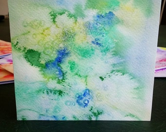 Water colour greeting card, Green and Blue, hand painted card, abstract water colour, art birthday card, unusual birthday card