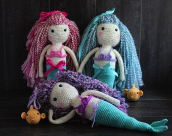 "Handmade Crochet Mermaid Doll-Amigurumi Toy-Gift-16"" Customizable Doll with Fish"