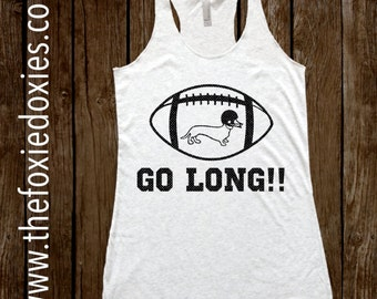 GO LONG!! Heather White Tank Top, Dachshund, Doxie, Doxies, Weiner Dog, Football, Dachshund Lover, Dachshund Shirt, Wiener Dog, Sausage Dog