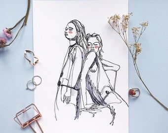 Sisterhood; Fashion Illustration; Art Print