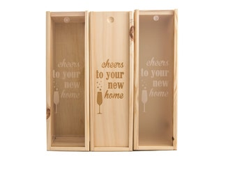 Wooden Wine Box (single) - Cheers