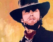 "Clint Eastwood as the ""preacher"" in ""Pale Rider, Western Portrait, Original Oil Painting"