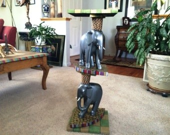 Hand Painted Elephant Pedestal/Table/Console Table