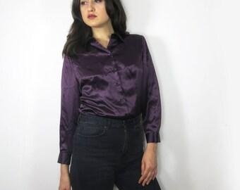 Plum Purple Silk Long Sleeve Shirt Size Small