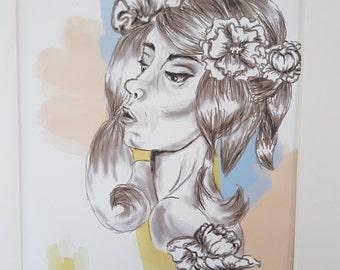 Watercolor Girl Digital Print