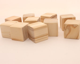 Set of 10 pine wooden blocks | 1 1/2 inch | 4 cm | Unfinished wood blocks | Blocks with extra sanded corners| Square blocks | Wooden cubes