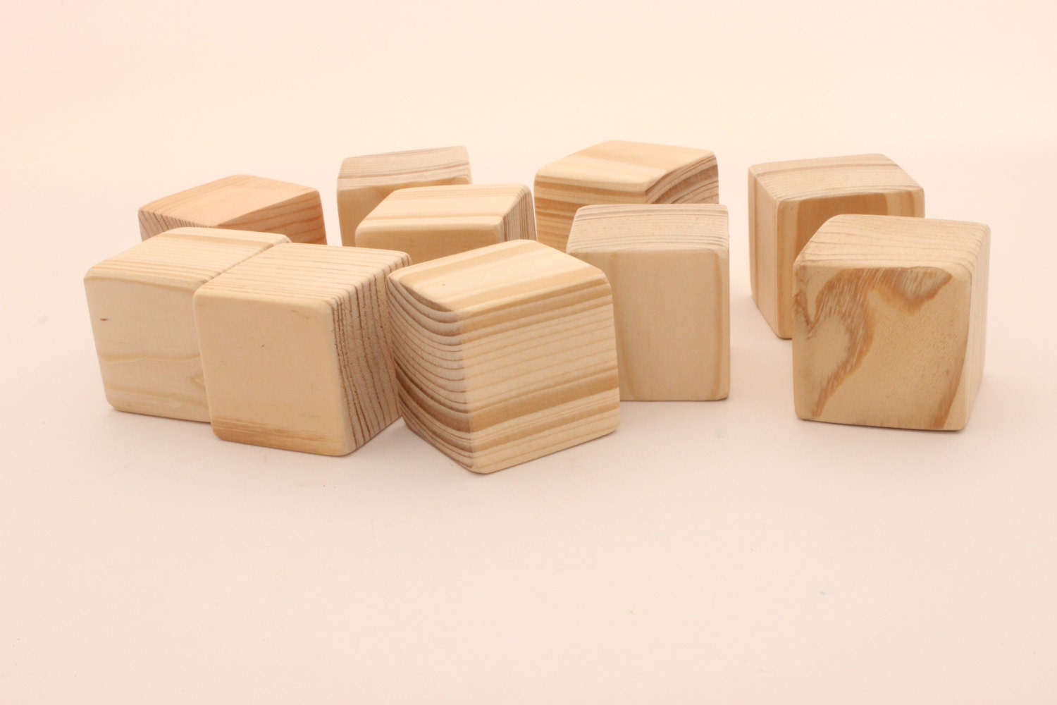Set of pine wooden blocks inch cm unfinished