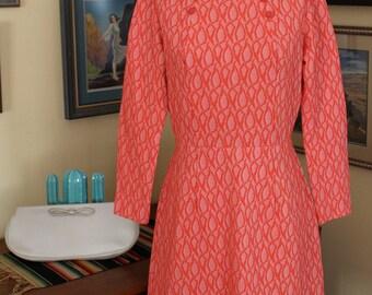 1960's Retro/Mod Burnt Orange Long Sleeve Dress