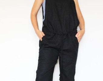 Linen jumpsuit, Harem jumpsuit, Womens Jumpsuit, Drop crotch pants, Linen pants, Romper
