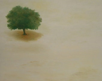 In the middle of no part tree, lone tree, tree, landscape clean Virgin desert. Green and beige. Naïve modern contemporary painting.