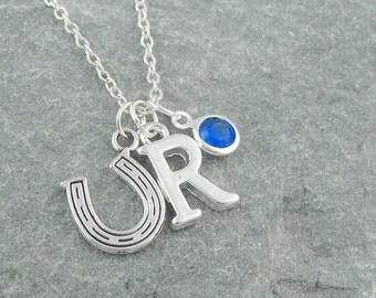 Horseshoe necklace, personalized jewelry, initial necklace, swarovski birthstone, silver chain, good luck charm, birthstone jewelry, wedding