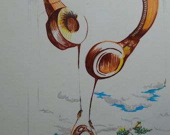 Fly with the music...Original handmade colored pen and ink giftcard ...