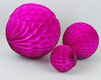 """8"""" Hot Pink Tissue Paper Pom Pom or Honeycomb Ball for Birthday, Bachelorette Party, Bridal Shower, 80s Party, Photo Booth Prop or Backdrop"""