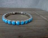 blue bracelet with small stones- vintage light blue bracelet - shabby chic jewelry- girly bracelet