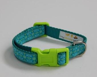 Teal and Green Dog Collar, Teal Dog Collar, Green Dog Collar, Adjustable Dog Collar
