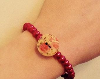 Cherry red beaded bracelet