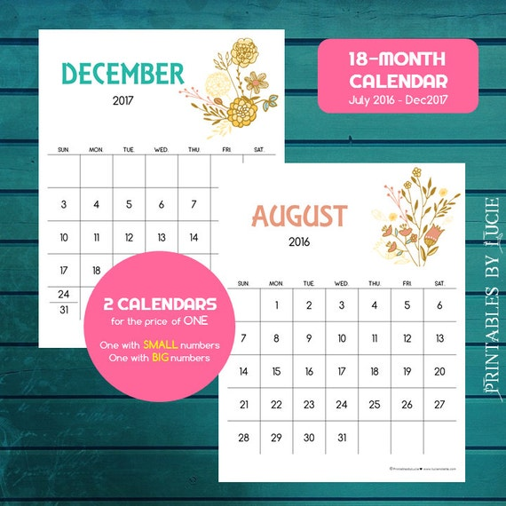 December 2016 January 2017 Kitchen Of The Month: 18-Month Calendar Jun 2016-Dec. 2017 By PrintablesByLucie