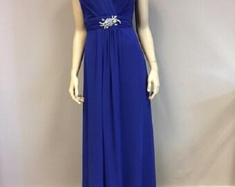 Royal Blue Chiffon Dress Silver Crystals on waist Elegant Prom Formal Gown Wedding Guest Bridesmaids