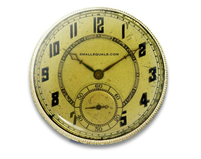 "The Gilda. Gold Watch Button. 1.25"" pinback button. Displays correct time twice a day."
