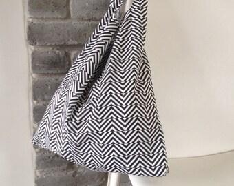 folding tote bag, reusable tote bag, market bag, shopping bag, black and white cotton bag with geometric print